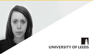 Porträt von Philippa Hill und University ofLeedsLogo